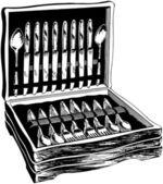 Flatware In Wooden Case — Stock Vector