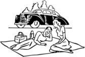 Couple Having Picnic — Vettoriale Stock