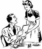 Waitress Handing Out Menu — Stock Vector