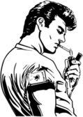 Greaser Lighting Cigarette — Stock Vector