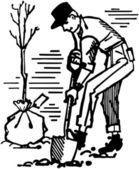 Man Planting Tree — Stock Vector