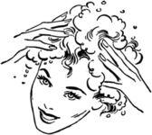 Kvinna tvätt hår — Stockvektor