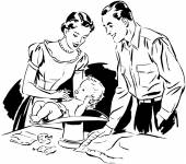 Mom And Dad Weighing Baby — Stockvektor