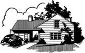 Suburban House — Stock Vector