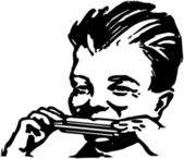 Armónica jugar chico — Vector de stock