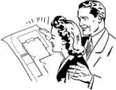 Checking Floorplans — Stock Vector