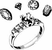Ring Setting & Gems — Stock Vector