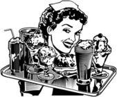 Retro Diner Waitress — Stock Vector