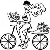 French Girl On Bike — Vettoriale Stock