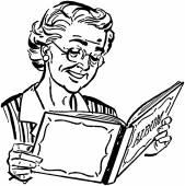 Grandma With Photo Album — Stock Vector