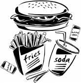 Burger, Fries & Soda — Stock Vector
