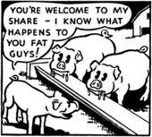 Illustration of pigs on farm — Stock Vector