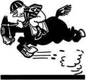 Jockey On Racehorse — Stock Vector
