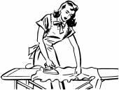 Retro Woman Ironing cloth — Stock Vector