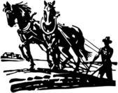 Horses Plowing Field — Stock Vector