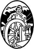 Sailor At The Helm Vignette — Stock Vector
