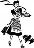 Waitress Serving Food — Stockvector