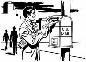 Man Mailing A Letter — 图库矢量图片