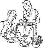 Serving Dinner — Stock Vector