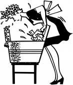 Woman Using Washboard — Stock Vector