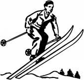 Skier retro — Vecteur