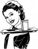 Waitress With Tray — Stock Vector