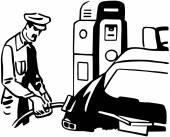 Serviceman Filling Car — Stock Vector