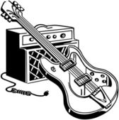 Electric Guitar And Amplifier — Stockvector