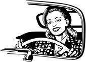 Female Motorist — Stock Vector