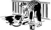 Lady Painting Patio Floor — Stock Vector