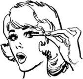 Girl Doing Eyelashes — Stock Vector