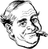 Man With Cigar — Stock Vector