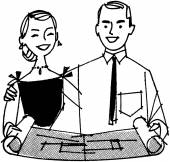 Couple Looking At Blueprint — Vector de stock