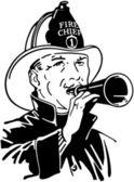 Fireman With Bullhorn — Stock Vector