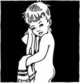 After The Bath - Retro Clipart Illustration — Vettoriale Stock