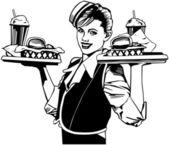 Retro Waitress — Stock Vector