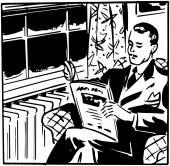 Man Reading Magazine — Stock Vector