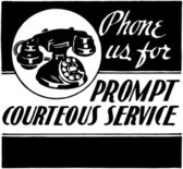 Phone Us For Courteous Service — Stock Vector