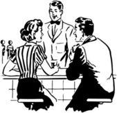 Talking With The Soda Jerk — Stock Vector