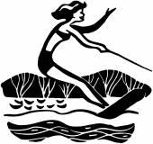 Lady Water Skiing — Stockvektor