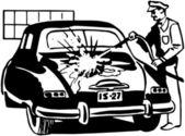 Serviceman Washing Car — Stock Vector