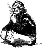 Indian Smoking — Stock Vector