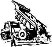 Dumptruck Unloading — Stock Vector