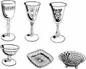Assorted Glassware — Stock Vector