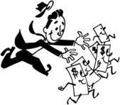 Man Chasing Money — Stock Vector