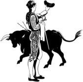 Matador With Bull — Stock Vector