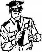 Politieagent schrijven ticket — Stockvector