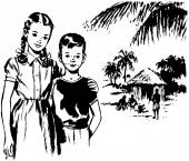 Girl And Boy In Tropics — Stock Vector