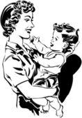 Mom Holding Baby — Stock Vector