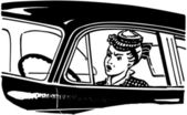 Angry Woman Driving — Stock Vector